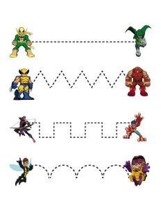 superheroes worksheets tracing line