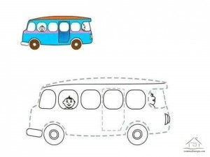 tracing line and coloring bus