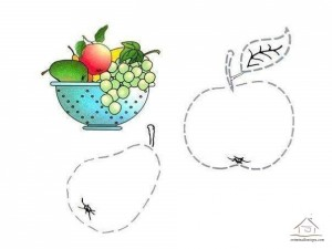 tracing line and coloring fruit