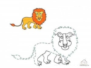 tracing line and coloring lion