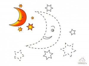 tracing line and coloring moon