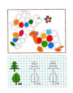 tracing line and coloring turtle