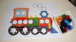train pom pom activity
