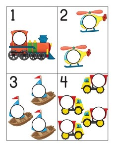 transportation printables number cards