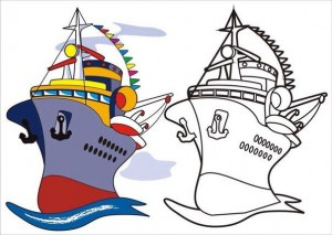 vehicles coloring pages ship