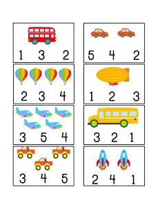 vehicles themed counting printables (2)
