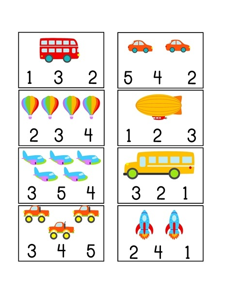 Vehicles Printables » vehicles themed counting printables (2)