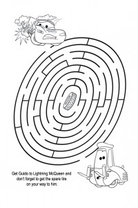 Lightning Mcqueen maze worksheets