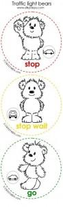 Traffic light bear worksheets