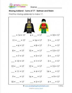 batman missing math activity