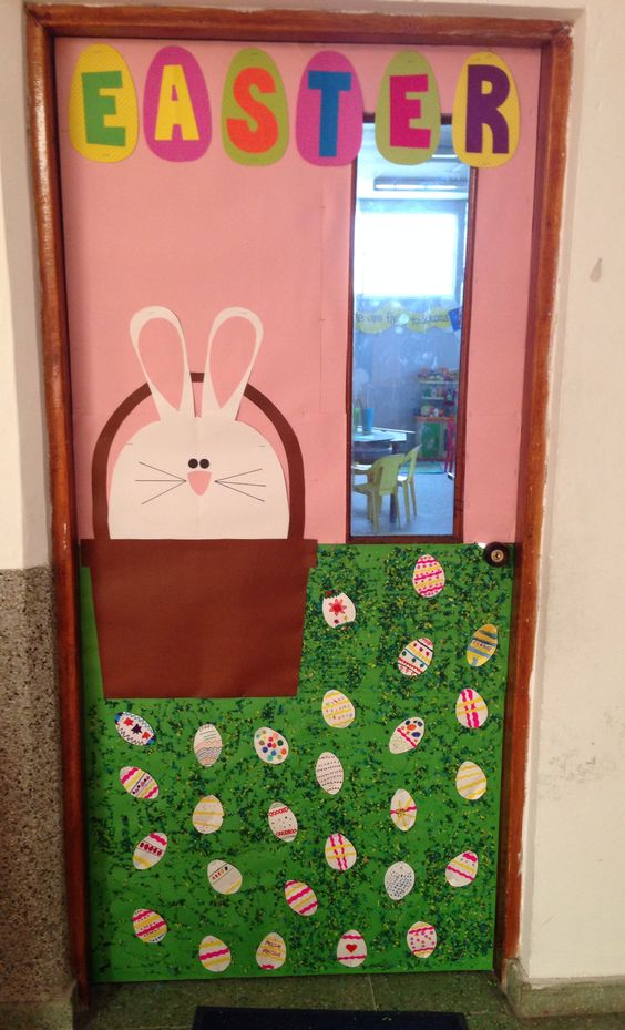 Easter school door decoration for preschool 5 funnycrafts for Nursery class door decoration
