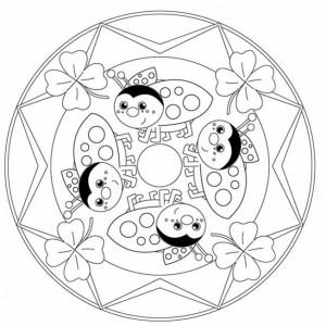 ladybug spring mandala coloring pages (11)