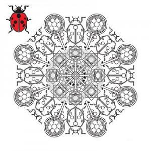 ladybug spring mandala coloring pages (16)