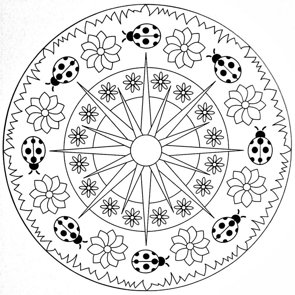 Ladybug spring mandala coloring pages 6 funnycrafts for Mandala coloring pages