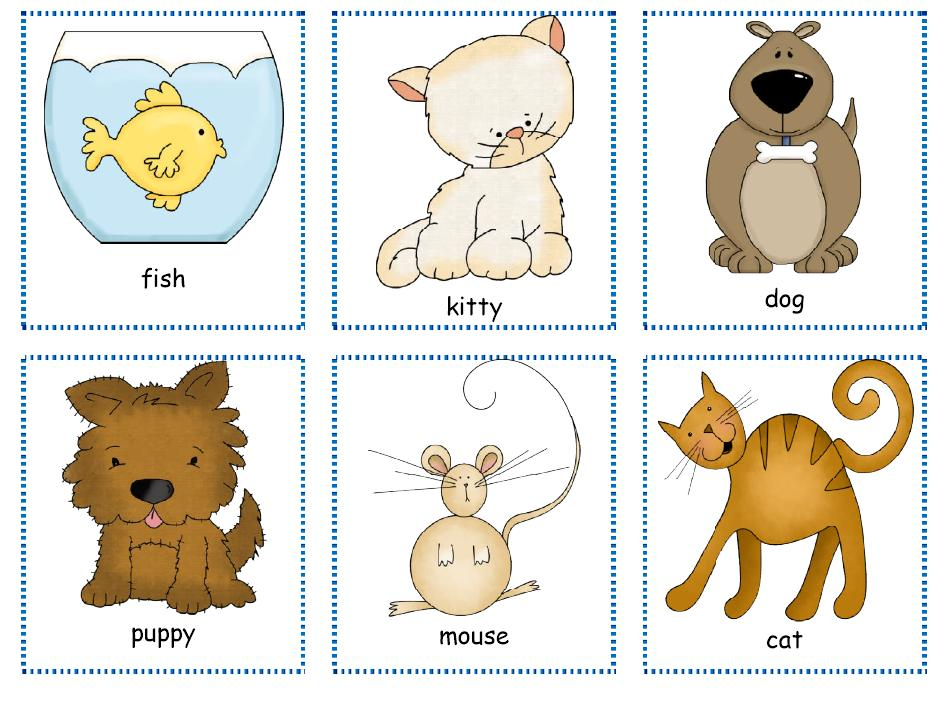 Pets printable activities » pets cards