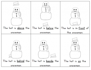 snowman Prepositions Lesson Worksheets