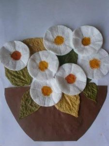 cotton pads flowers spring crafts (4)