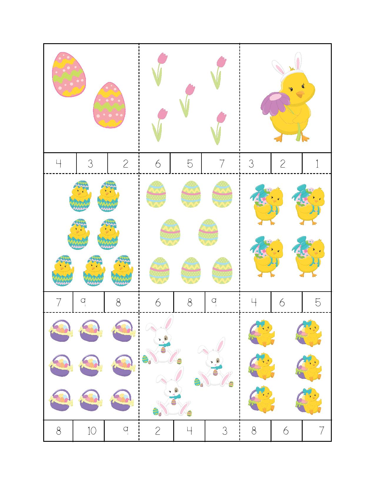 Easter math worksheets » easter egg memory counting game for kids