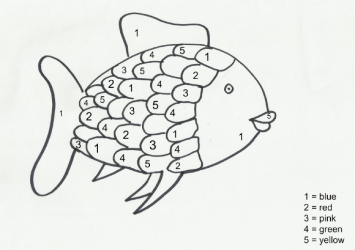 fun color by number rainbow fish coloring page for preschoolers letscoloritcom