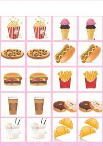 food memory game printables