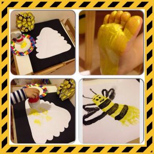 footprint bee crafts and activities for kids
