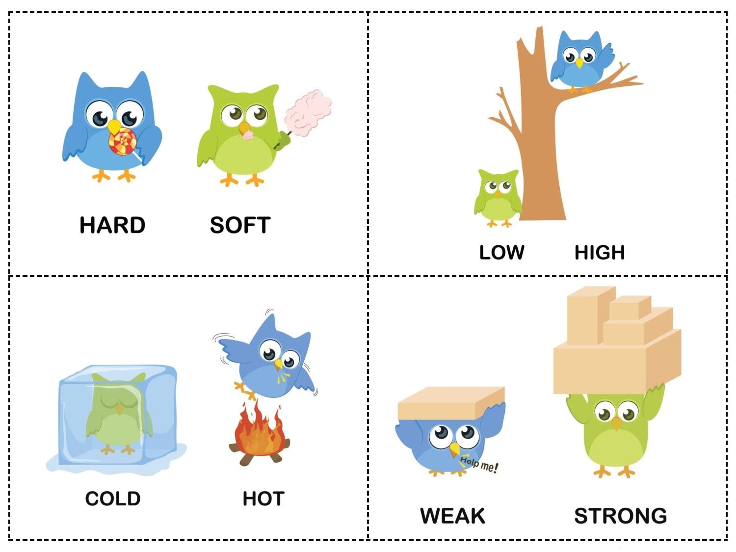 Owl Theme Opposites Cards 4 on Free Printable Preschool Worksheets Alphabet