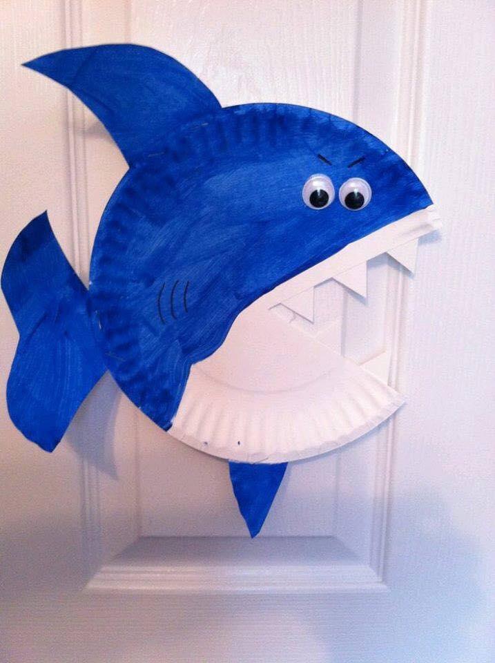 paper plate shark craft funnycrafts