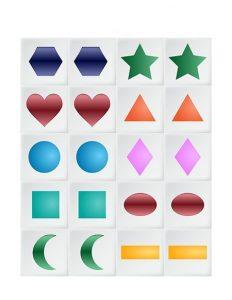 shapes memory game printables