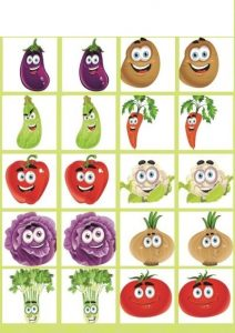 vegatables memory game printables