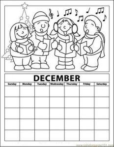december calendar coloring page
