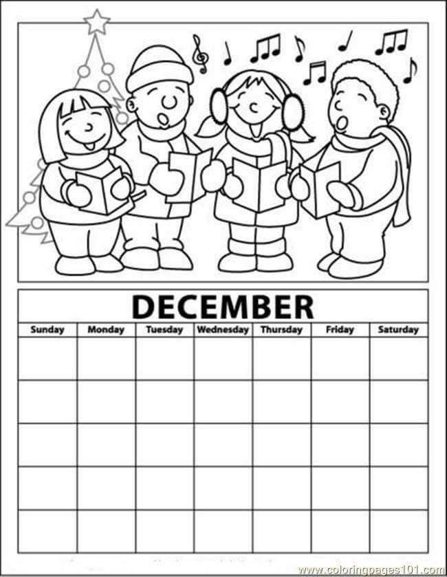 December calendar coloring page funnycrafts for December coloring page