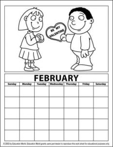 february calendar coloring page