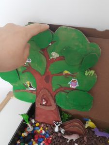 forest animals sensory bin for kids