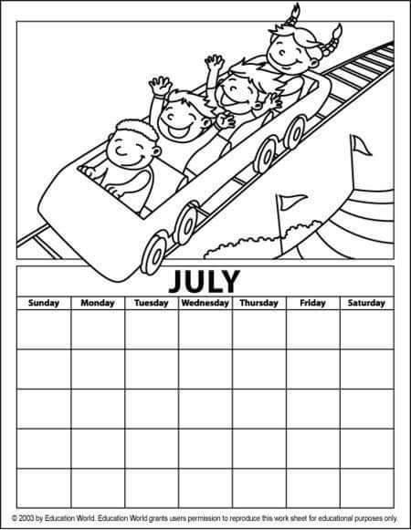 july calendar coloring page « funnycrafts