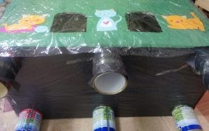 making a cardboard cat house
