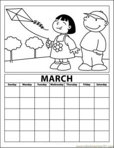 march calendar coloring page