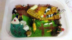 montessori farm sensory bin