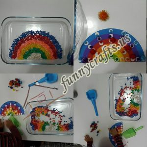 rainbow sensory bin for toddlers