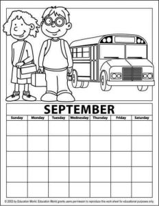 september calendar coloring page