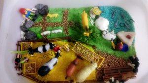 spring on the farm sensory bin