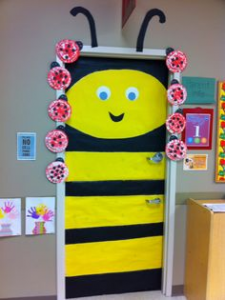 bee themed door decoration