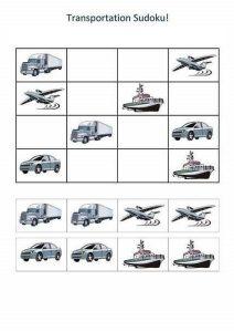 vehicles sudoku for kids
