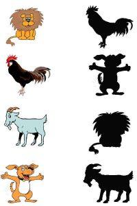 farm animals shadow matching sheets