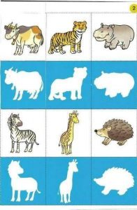animal shadow matching worksheets for kids