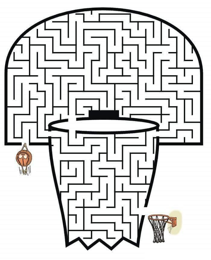basketball maze worksheets funnycrafts – Basketball Worksheets