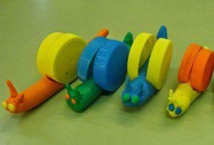 bottle cap play dough snail craft