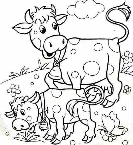 Coloring Pages Of Animals And Their Babies : Cow coloring pages « funnycrafts