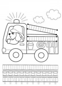 firetruck pre writing sheet