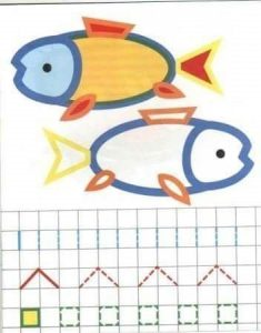 fish tracing and coloring worksheet