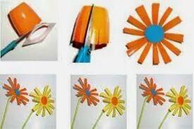 flower made from yogurt cups